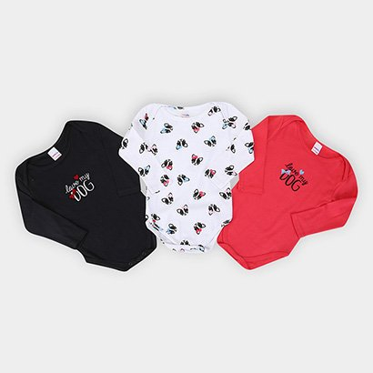 Kit Body Bebê Candy Kids Pug Manga Longa