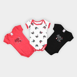Kit 3 Bodys Infantil Candy Kids Pug Feminino