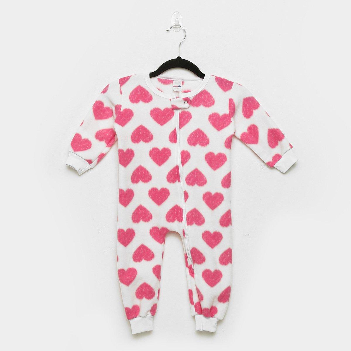 Macacão Bebê Candy Kids Pijama Soft Zíper Coração Feminino