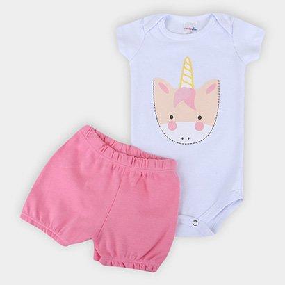 Conjunto Infantil Candy Kids Body E Shorts Suedine Bebê Feminino