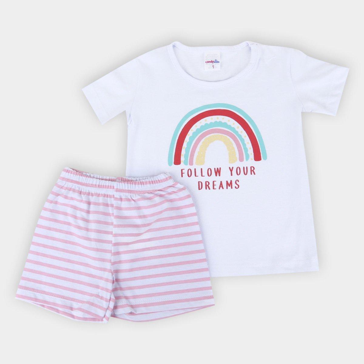 Pijama Infantil Candy Kids Curto Listrado Follow Your Dreams Feminino