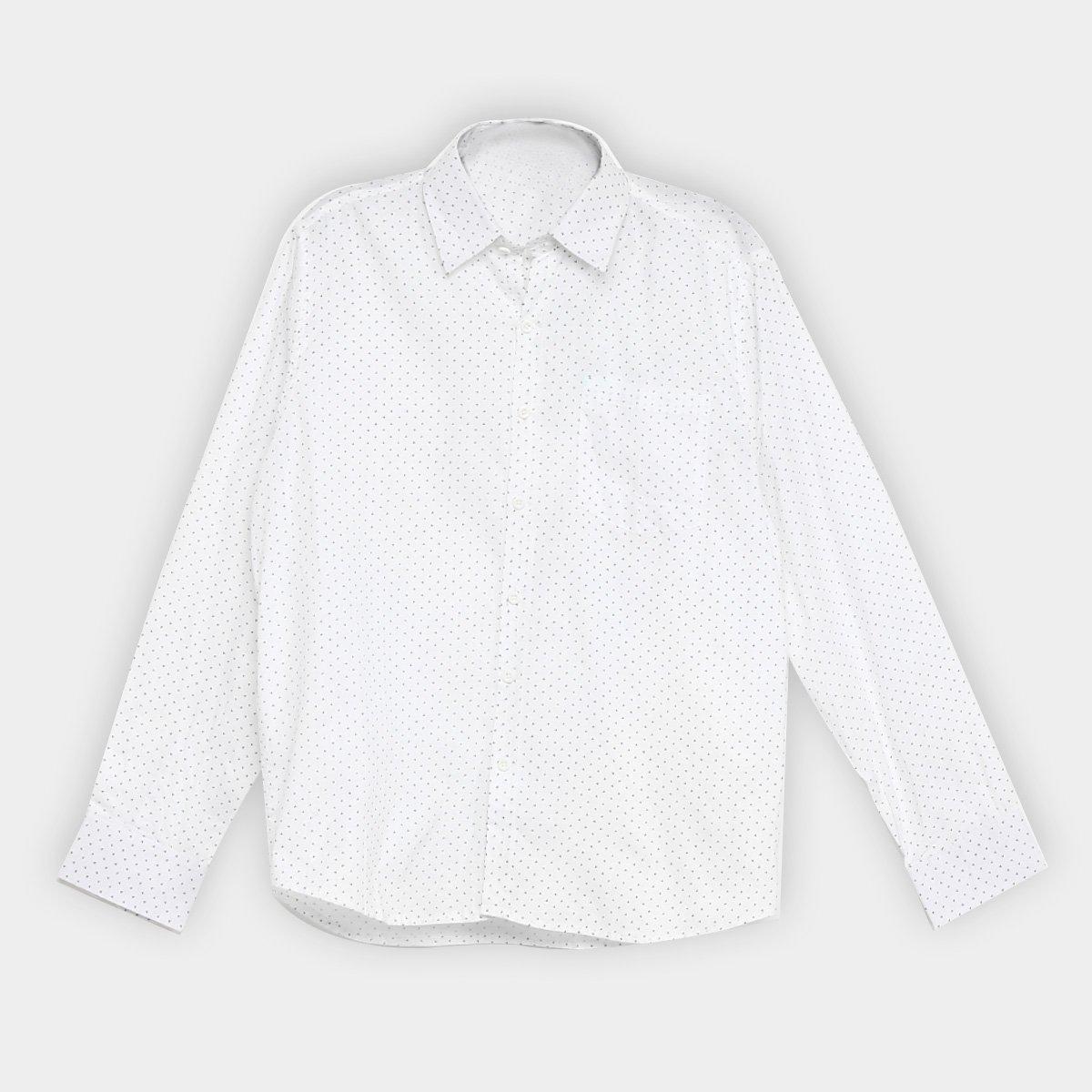 Camisa Giorgio Bianco Estampada Manga Longa Masculina