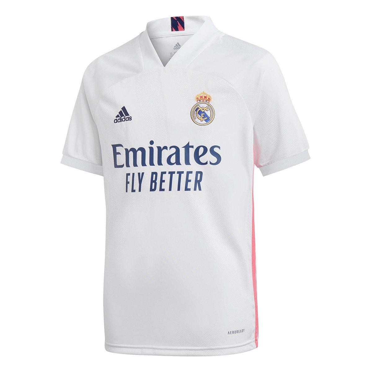 Camisa Real Madrid Juvenil Home 20/21 s/n° Torcedor Adidas
