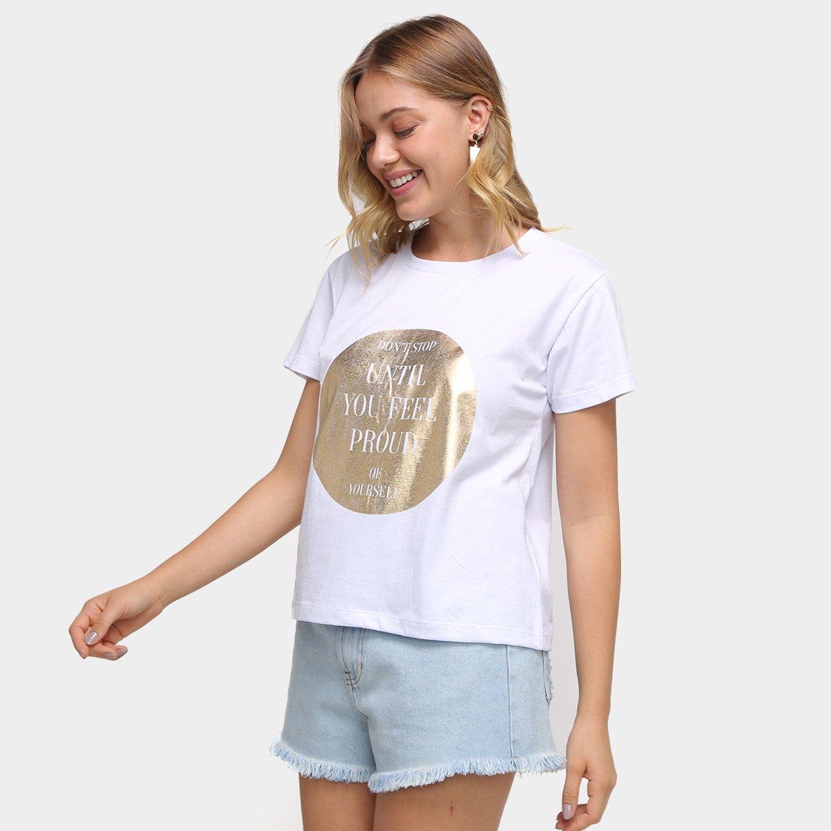 Camiseta Volare Básica Foil Don't Stop Feminina