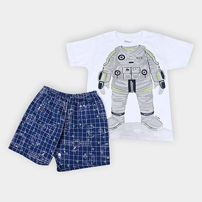 Pijama Infantil Elian Robô Brilha no Escuro Menino