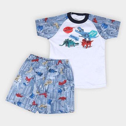 Pijama Curto Infantil Elian Meia Malha Dinos Masculino