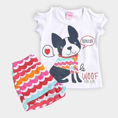 Conjunto Infantil For Girl Estampa Cachorro Feminino