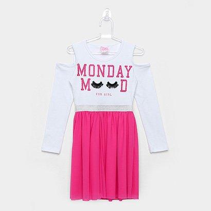 Vestido Infantil For Girl Open Shoulder Saia Tule Manga Longa
