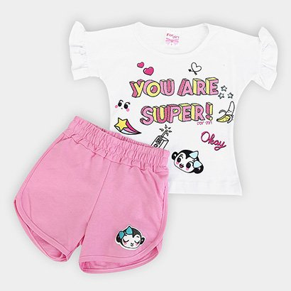 Conjunto Infantil For Girl Blusa Babado E Short Moletinho You Are Super