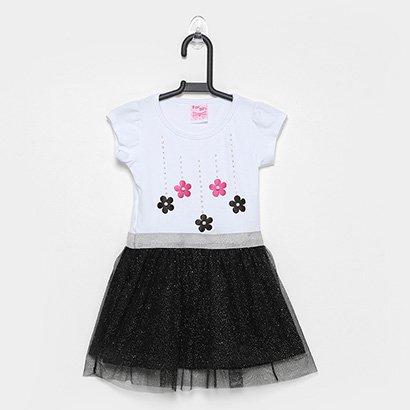 Vestido Infantil For Girl Tule C/ Aplicacao Flores E Strass-3337
