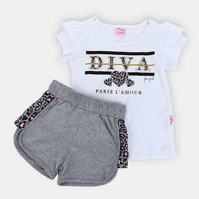 Conjunto Infantil For Girl Blusa M/M C/ Silk Diva E Short Moletinho-3393