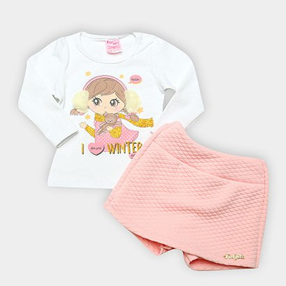 Conjunto Infantil For Girl Winter Short Saia Matelassê Feminino