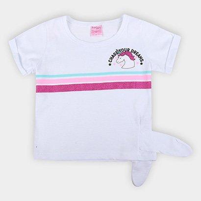 Blusa Infantil For Girl Amarração Unicórnio Feminina