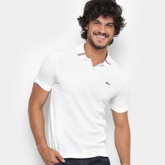 a1b446a638 Camisa Polo Lacoste Live Piquet Frisos Gola Masculina - Branco