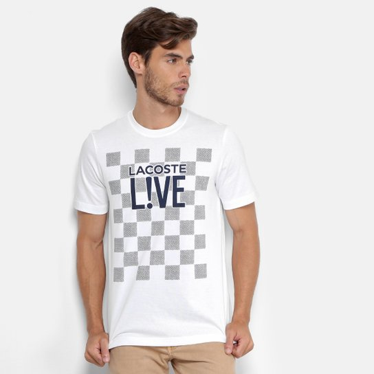 d9c28c122d Camiseta Lacoste Live Estampada Masculina - Branco