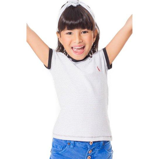 386f35a964 Blusa Infantil Cotton Listrado Reserva Mini Feminina - Branco ...