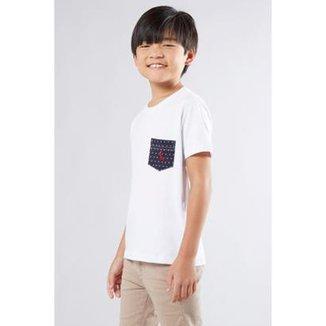 Camiseta Infantil Malha Branca Bolso Reserva Mini Masculina 5fc3194b7e7