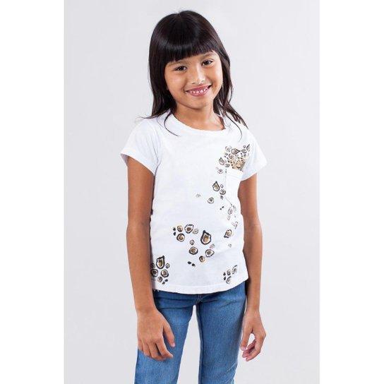 580d916aeb Camiseta Infantil Bolsinho Onca Reserva Mini Feminina - Branco ...