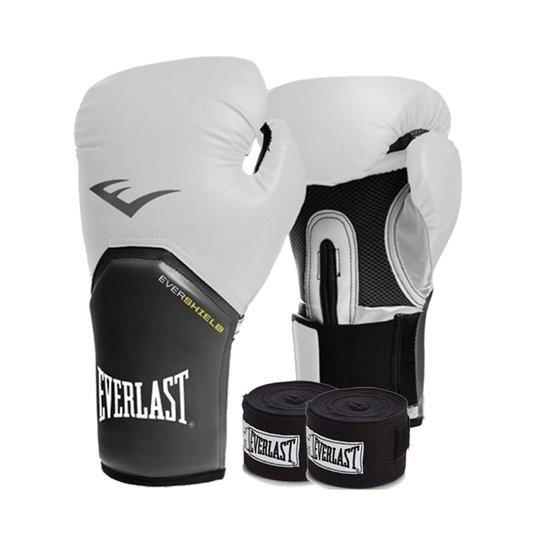 fc1781dcd Kit Boxe Everlast - Luva Branca 12Oz + Bandagem - Compre Agora ...