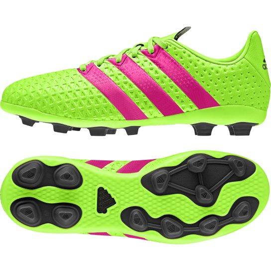 be521a4428 Chuteira Adidas Ace 16.4 FXG Campo Juvenil - Verde Limão+Pink
