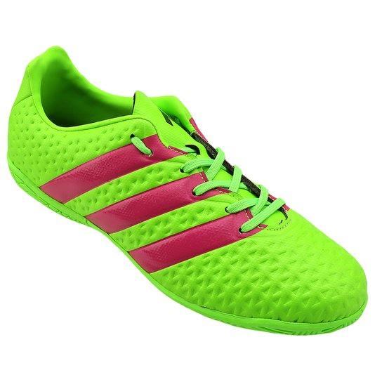 8a8305391c Chuteira Futsal Juvenil Adidas Ace 16.4 IN - Verde Limão e Pink ...