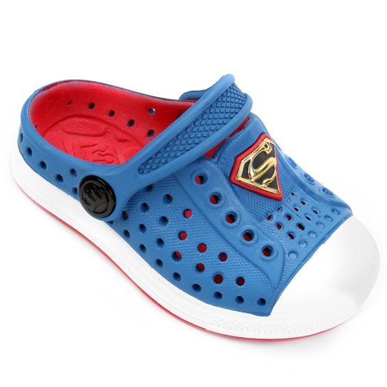 90e88b88f Babuche Plugt Joy Superman Infantil - Azul+Vermelho