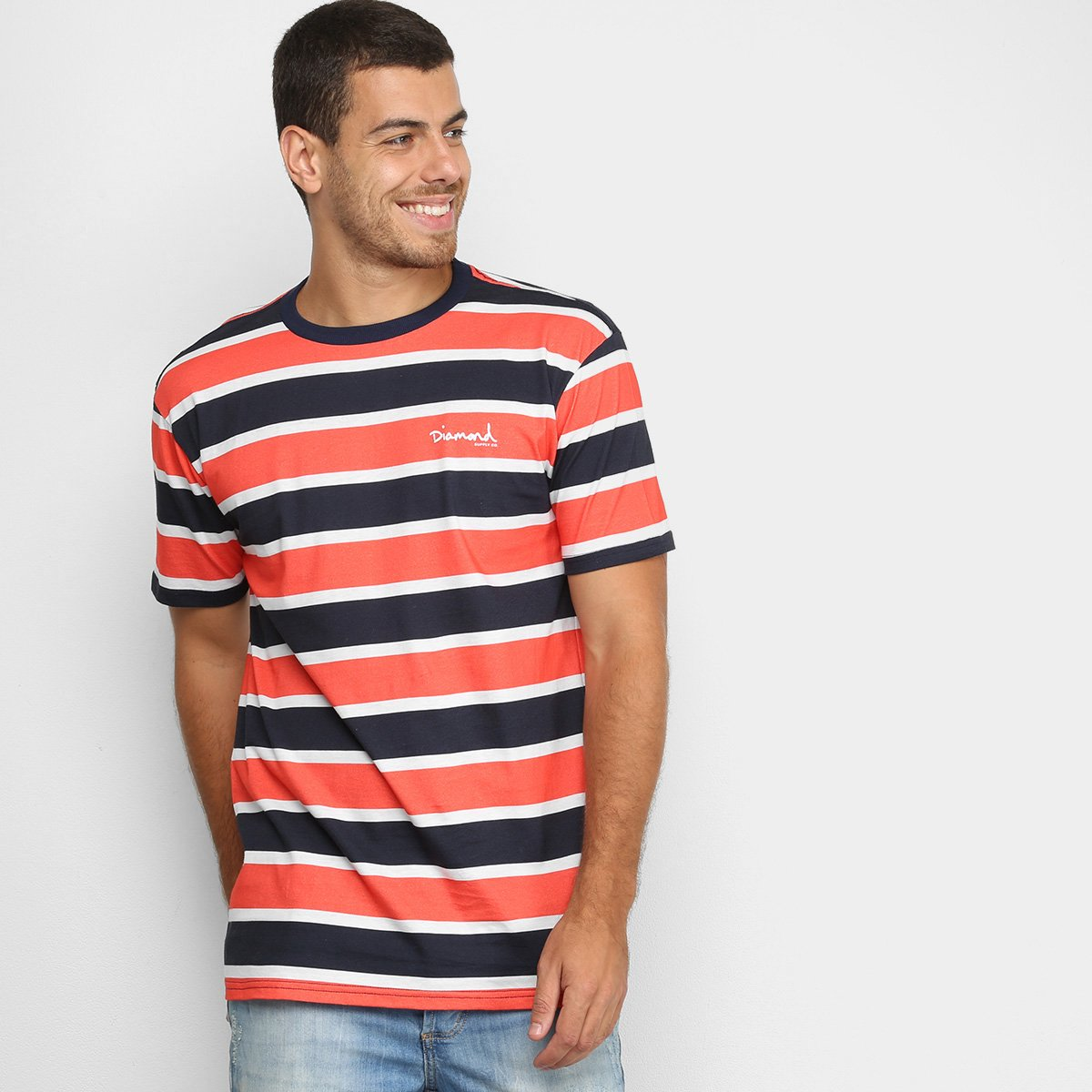 Camiseta Diamond Mini OG Script Striped Tee Masculina