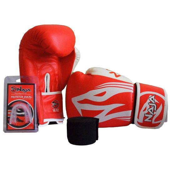 8cc27fbe8 Kit Luva de Boxe Muay Thai Naja Extreme 12 oz + Bandagem + Protetor Bucal