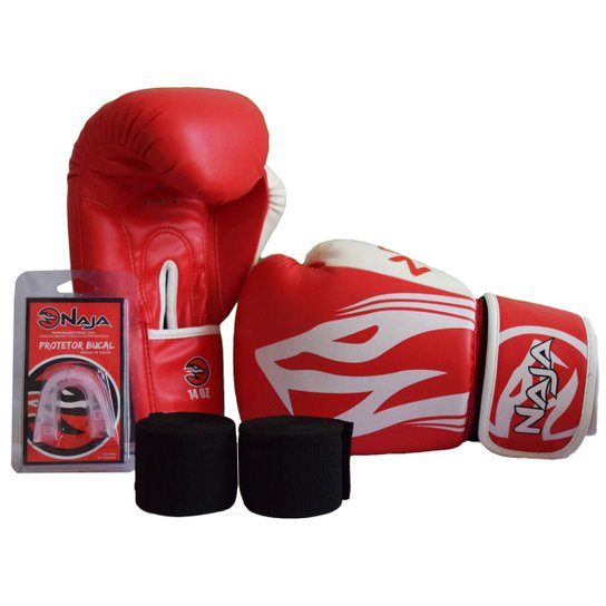 c496247cd Kit Luva de Boxe Muay Thai Naja Extreme 16 oz + Bandagem + Protetor Bucal