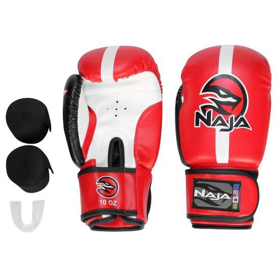 6861298a6 Kit Luva de Boxe   Muay Thai Naja Classic 10 Oz + Bandagem + Protetor Bucal