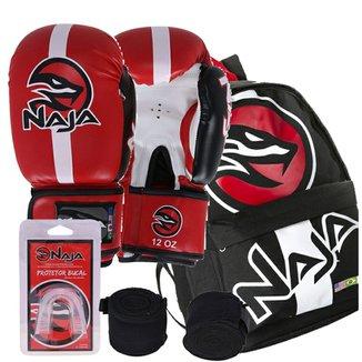 Kit Boxe Naja Classic 14Oz Vermelha + Mochila Extreme ca5248e58dc8d
