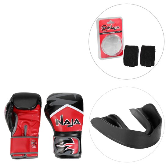 c26aff9e3 Kit Luva de Boxe   Muay Thai Naja New Extreme 14 Oz + Bandagem Elástica +