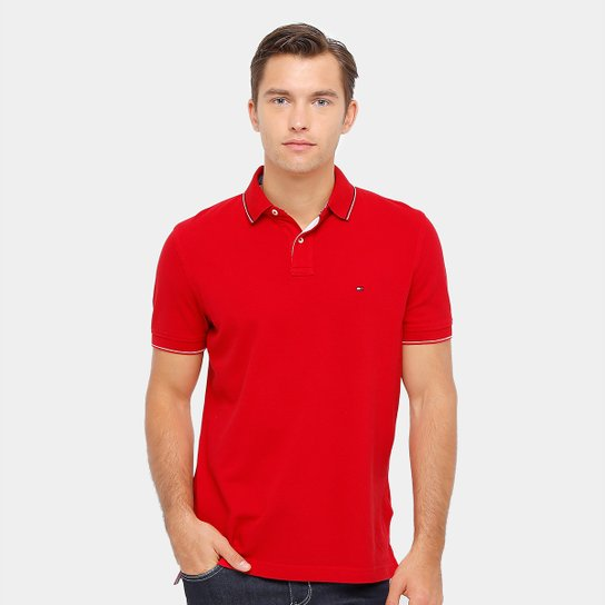 Camisa Polo Tommy Hilfiger Piquet Regular Fit Frisos Masculina - Vermelho fecddefa0a8