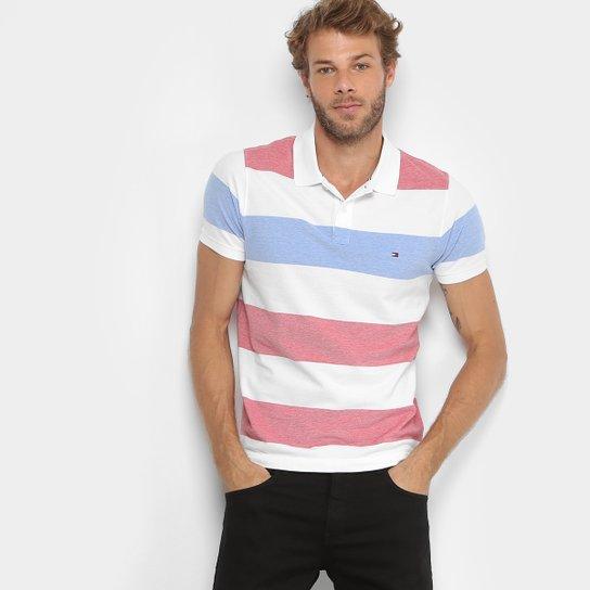 d8ea2c1b3f Camisa Polo Tommy Hilfiger Piquet Slim Listras Masculina - Vermelho ...