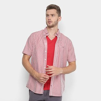 Camisa Tommy Hilfiger Manga Curta Listrada Regular Fit Masculina 2d43271a5aa
