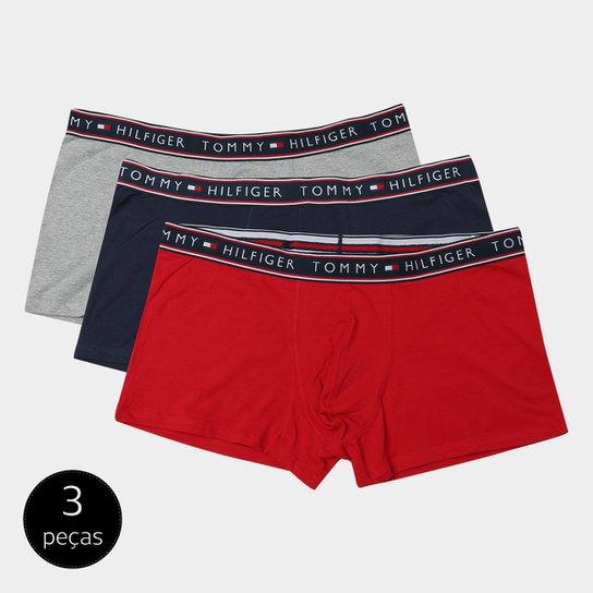 fa08741aa119a9 Kit de Cuecas Boxer Tommy Hilfiger 3 Peças - Vermelho
