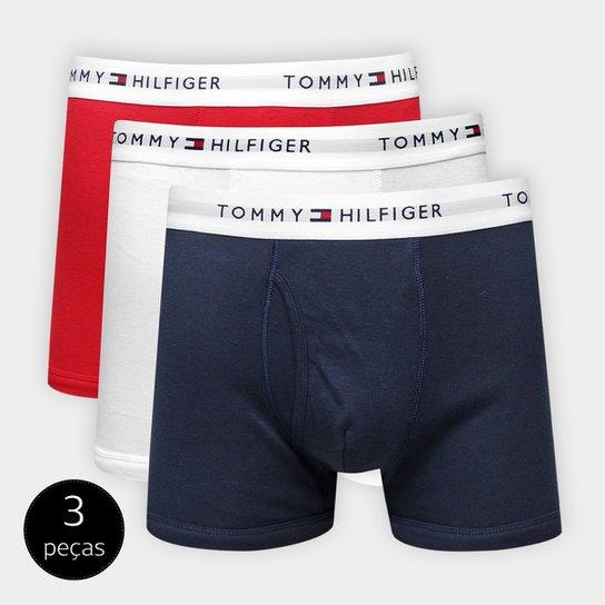 73b7af60b83892 Kit Cueca Boxer Tommy Hilfiger 3 Peças - Vermelho e Azul