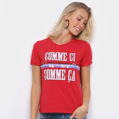 Camiseta Eagle Rock Comme Ci Paetês Feminina