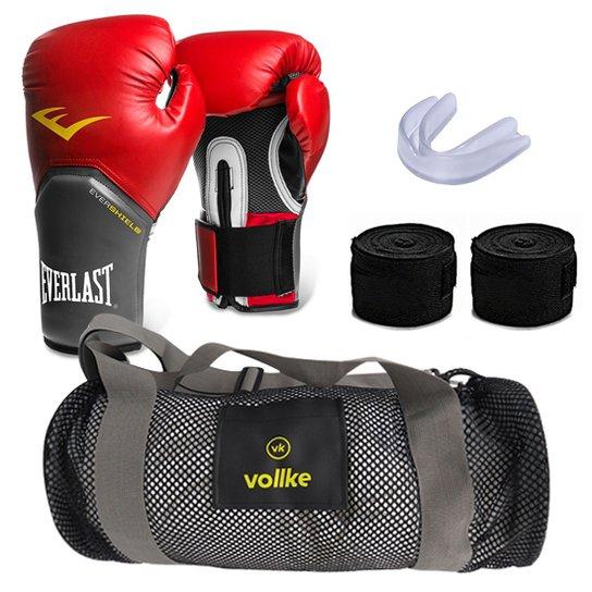 38f70a38e Kit Muay Thai com Bolsa Vollke + Bandagem+ Bucal e Luva Everlast -16oz -  Vermelho