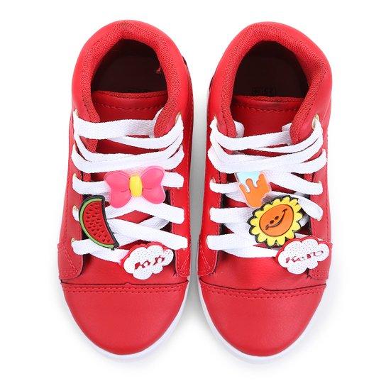 784392ec08 Tênis Infantil Cano Alto KitiKero Bottons Feminino - Vermelho
