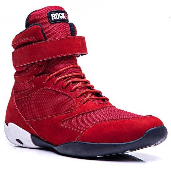 3a7236cdcbccc Bota De Treino Masculina Rockfit Overall Em Couro - Vermelho | Netshoes