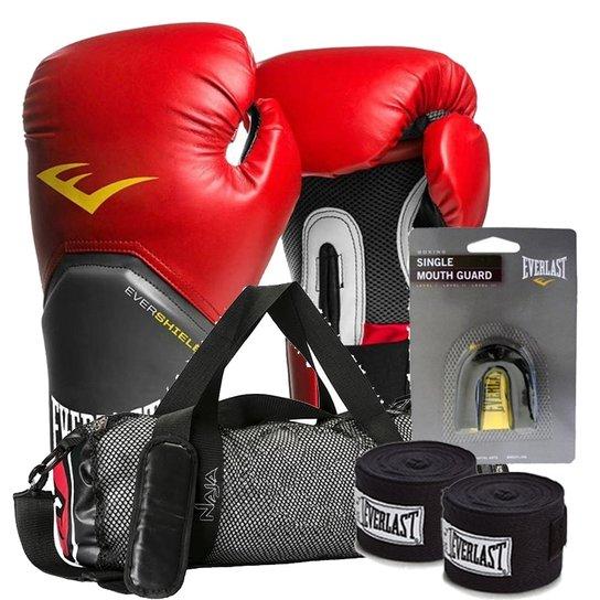 Kit Boxe Elite Everlast + Bolsa Naja 14Oz Vermelha Preta - Compre ... cd9345397abf9