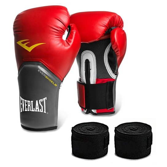 7ca9eebf3 Kit Muay Thai Luva Everlast 12OZ Bandagem - Vermelho