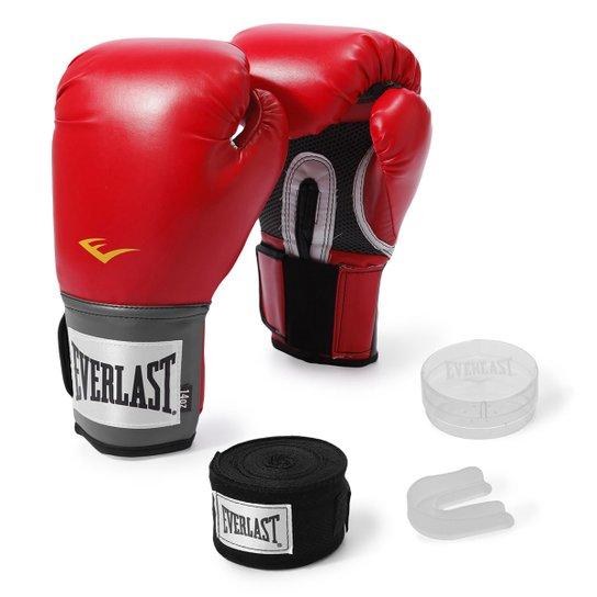 3b2b88b24 Kit Luva de Boxe Everlast Training 12 Oz + Bandagem - Vermelho ...