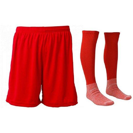 57923e6b50 Kit-Calção e Meião de Futebol Liso Preto - Vermelho - Compre Agora ...