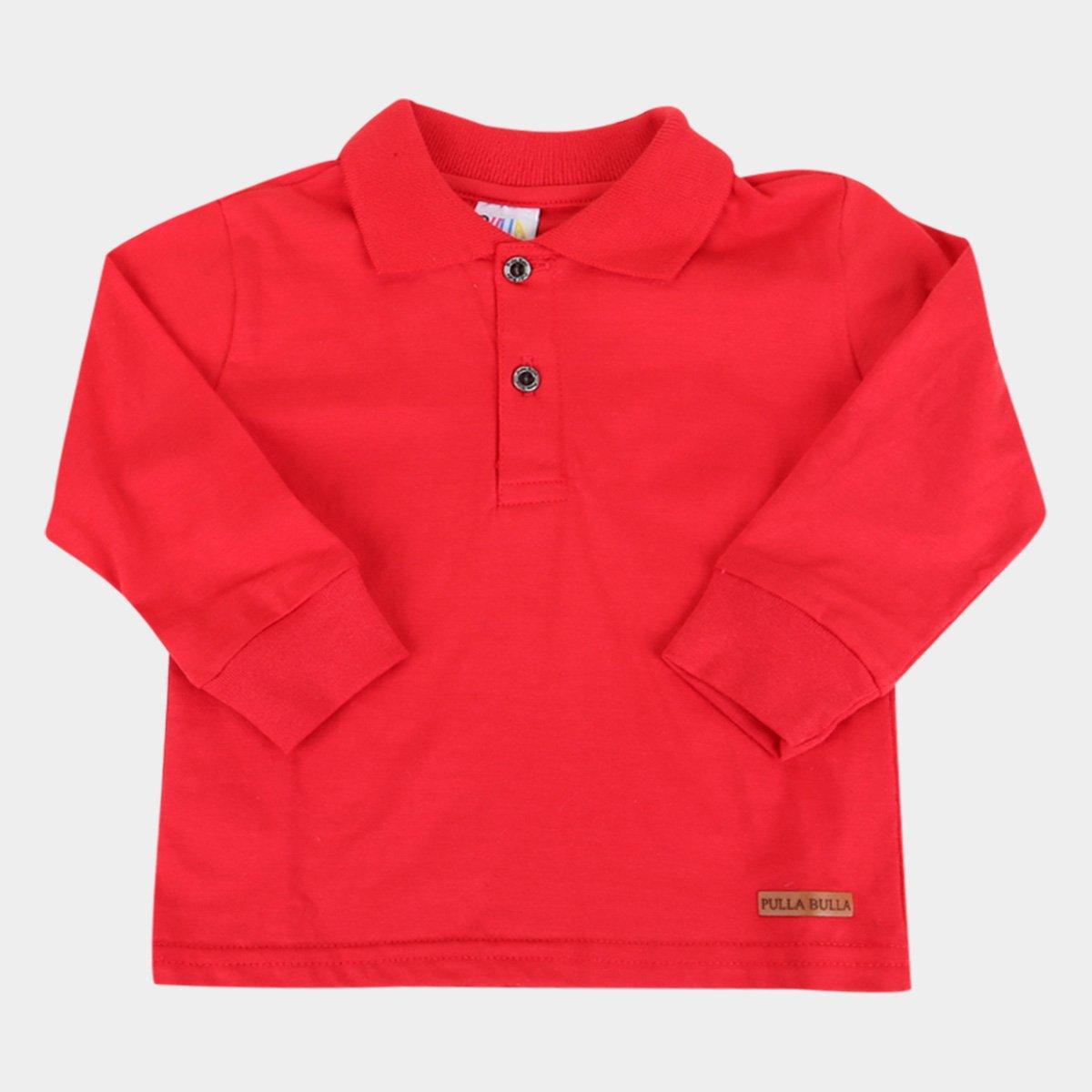 Camisa Polo Bebê Pulla Bulla Manga Longa Básica Masculina