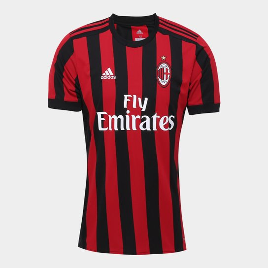 Camisa Milan Home 17 18 s nº Torcedor Adidas Masculina - Vermelho+Preto 602e59868c122