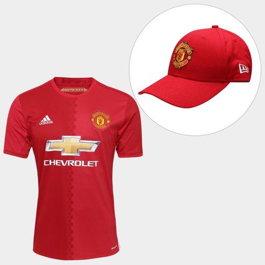 45c04126e5 Kit Camisa Adidas Manchester United Home 16/17 s/nº + Boné New Era ...