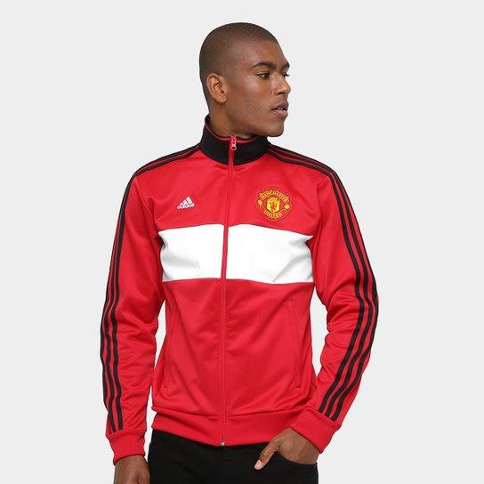 149ffbf475 Jaqueta Manchester United Adidas 3S Masculina - Vermelho - Compre ...