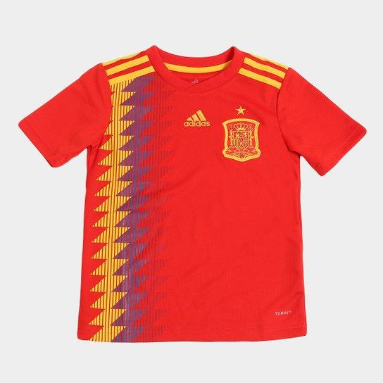 Camisa Seleção Espanha Infantil Home 2018 s n° Torcedor Adidas - Vermelho 979105b9fdc37